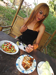 Blonde Ladyboy Mic has a lunch date and outside flashing