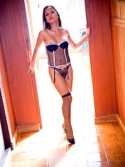Amazing Katoey Amy exposes her petite body in sexy lingerie