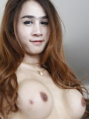 20 year old busty Thai ladyboy sucks and fucks white cock dry and get cum on her face