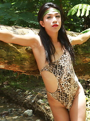 Young ladyboy Randa strips outdoors and flashes her love biscuits in a river bed