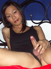 Busty T-girl playing with her rock hard cock until explosion
