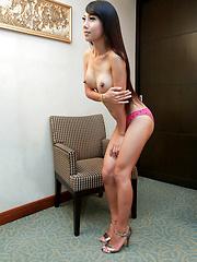 Super slim sexy Thai shemale jerks off