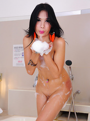 Erotic Erika's second Piladyboy photoshoot in a bubble bath!