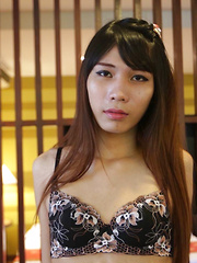 19 year old sexy and horny Thai ladyboy gets a facial from white cock