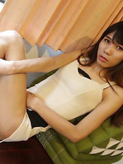 19 year old horny Thai ladyboy does a striptease for white tourist