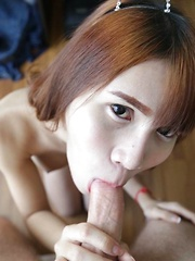 Big-boobed Asian Ladyboy takes hard ass reaming and dribbles cum
